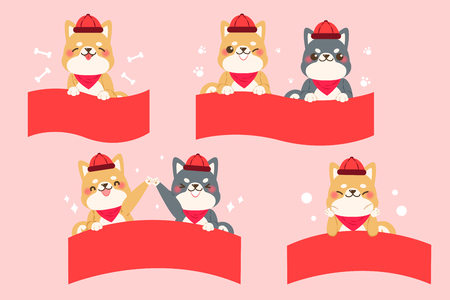 Cute cartoon dog with ribbon on  pink background Illustration
