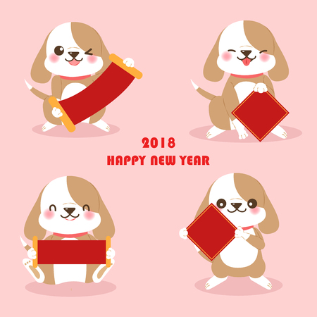 Cute cartoon dog with for 2018 new year background on the pink background Illustration