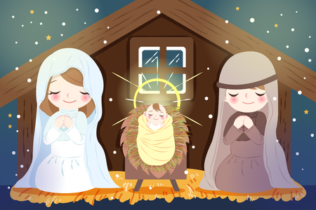 Christmas Nativity Scene with baby Jesus