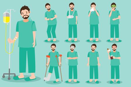 Cute cartoon patients vector set