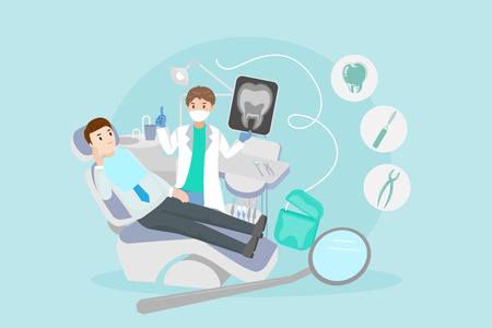 Cartoon dentist with patient vector