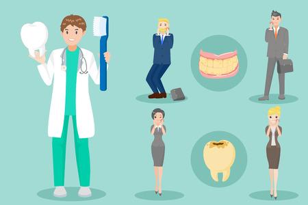 Cartoon dentist with patients vector set