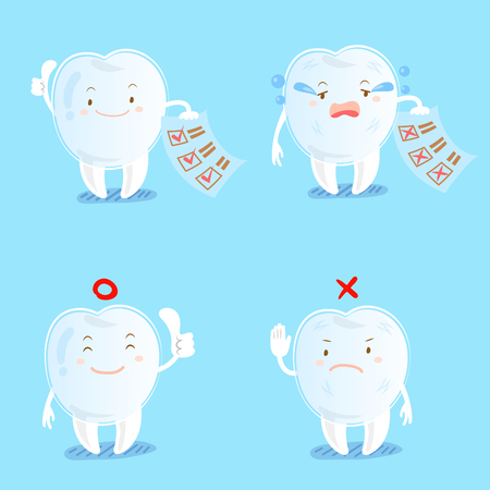 tooth wear invisible braces with different emotion on the blue background