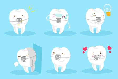 tooth wear braces with different emotion on the blue background
