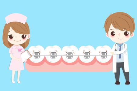 Dentista con dente indossare tutore sullo sfondo blu Archivio Fotografico - 90753200