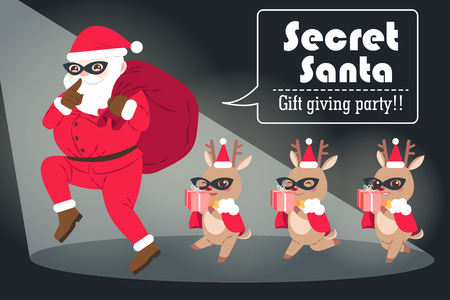 cartoon secret santa on the black background