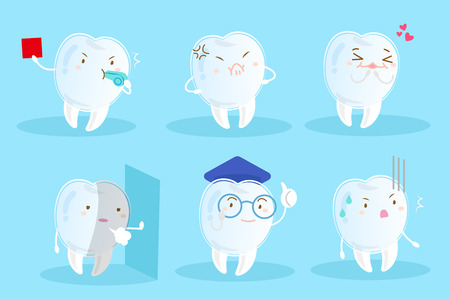 Tooth wear invisible braces with different emotion on the blue background. Illustration