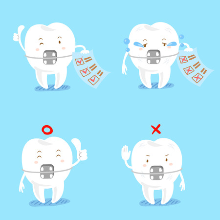 Tooth wear braces with different emotion on the blue background. Illustration