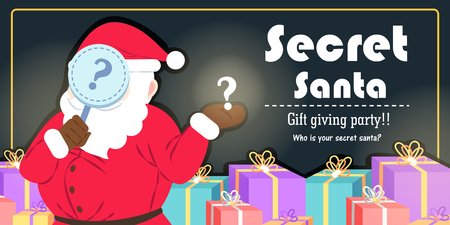 Cartoon secret santa on black background 矢量图像