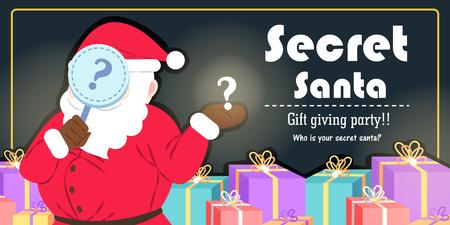 Cartoon secret santa on black background Illustration