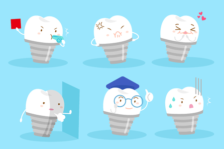 Cartoon tooth implant with different emotion on the blue background Illustration