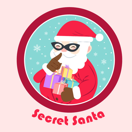 Cartoon secret santa on the pink background