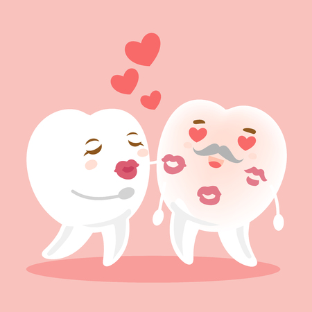 Tooth couple on pink background.