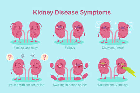 Kidney with healthy problem on the green background