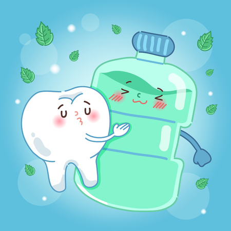 Cute cartoon tooth with mouthwash on blue background Illustration