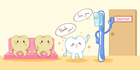 Cute cartoon tooth with health problem on yellow background 일러스트