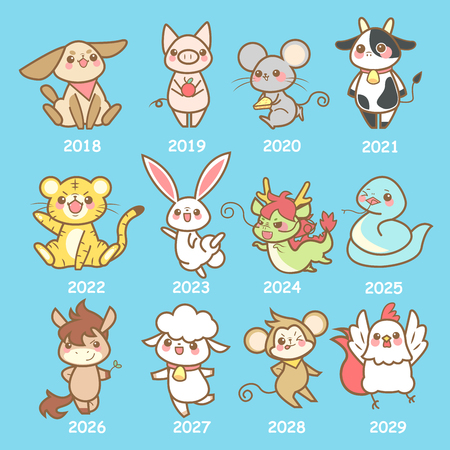 Cute cartoon animals with their corresponding year label.