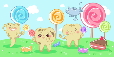 Cartoon decay tooth problem with candy and bacterium Illustration