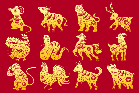 Cartoon zodiac silhouette on the red background