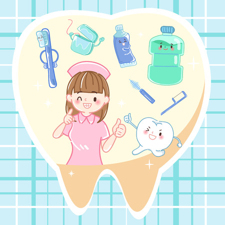 Tooth with health concept on the blue background Illustration