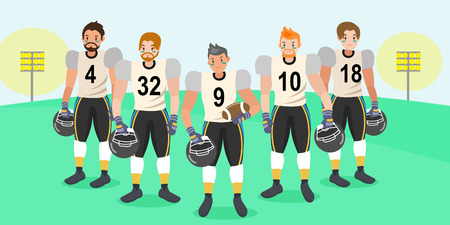 Cartoon american football players on the grass  イラスト・ベクター素材