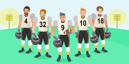 Cartoon american football players on the grass Stock Illustratie