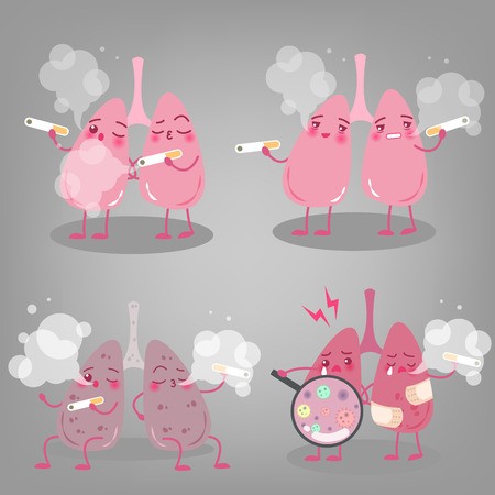 lung with health concept on the gray background Illustration