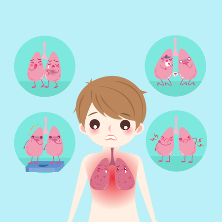 lung with health concept on the blue background Illustration