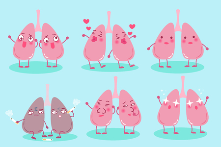 Lung cartoon character illustration.