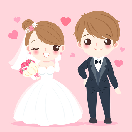 Cute cartoon illustration of married couple on pink background  イラスト・ベクター素材