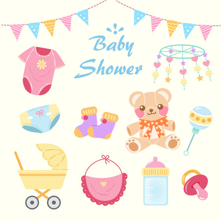 cartoon baby shower concept on the yellow background