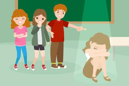 Dibujos animados de personas con problemas de acoso escolar en la sala de clase Foto de archivo - 92497048