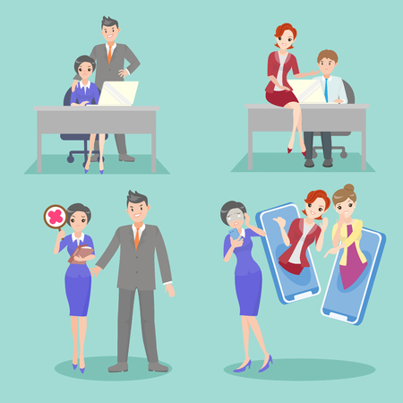 business people with bullying problem on the blue background Çizim