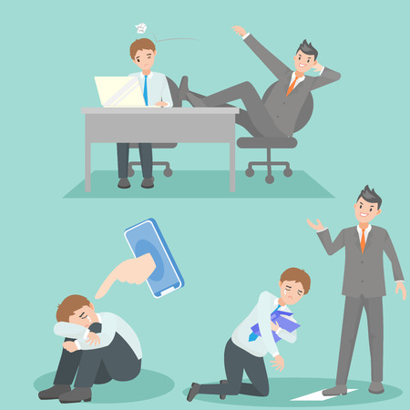 business people with bullying problem on the blue background Illustration