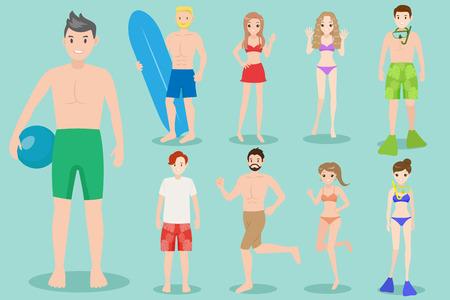 cartoon beach people  on the green background Illustration