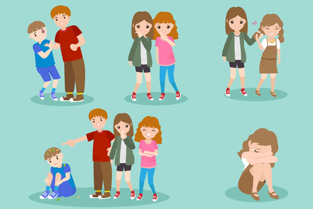 cartoon people with bullying problem on the blue background Ilustração