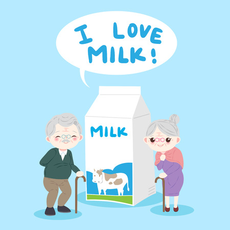 Old people with milk on the blue background
