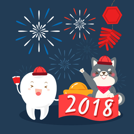 Cute cartoon dog and with 2018 year on the black background Illustration