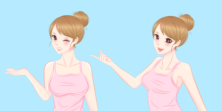 Woman show something to you on the blue background Illustration