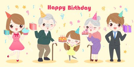 Cute cartoon family with happy birthday party