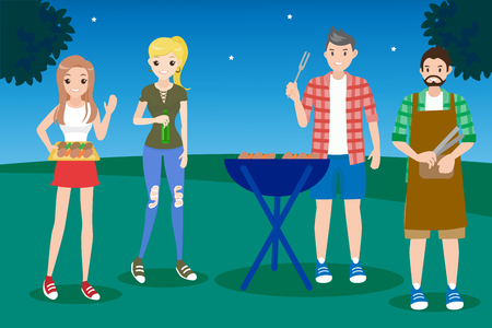 Cartoon people on picnic with bbq party Ilustracja