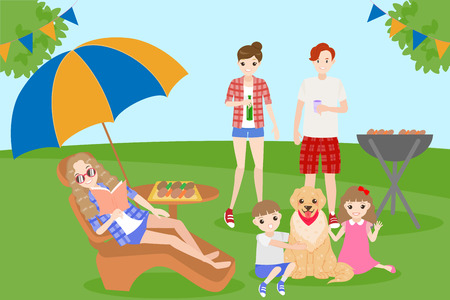 Cartoon family on picnic with bbq party