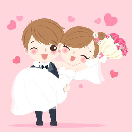 Cute cartoon wedding people smile happily on the pink background
