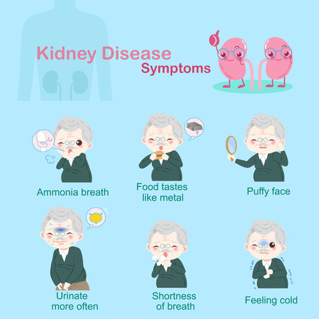 Old people with kidney disease illustration.