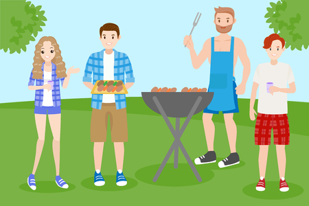 Cartoon people on picnic with bbq party Stock Illustratie