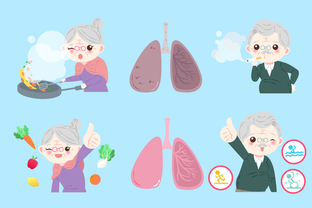 Old people with lung health on the blue illustration.