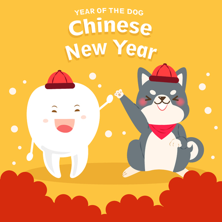 Cute cartoon dog and with 2018 year on the yellow background