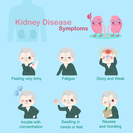 Old people with kidney disease on the blue illustration. Ilustração