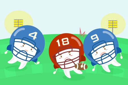 Cartoon tooth american football players on the grass