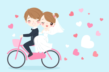 A cute cartoon wedding people riding bicycle and smile happily on the blue background Vectores